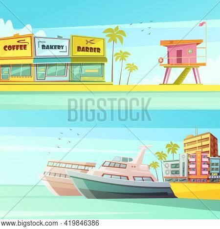 Miami Beach Horizontal Banners In Cartoon Style With Sandy Shore Seagulls Yachts Hotels  Flat Vector