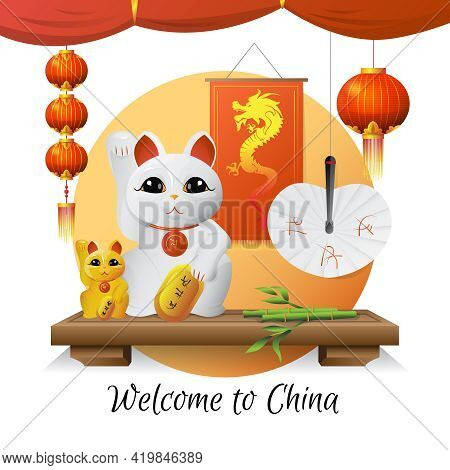 Welcome To China Traditional Souvenirs And Symbols With Lucky Cat Lanterns And Bamboo On White Backg
