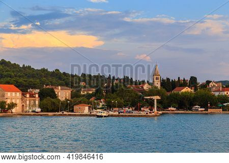 Zlarin, Croatia - September 12, 2016: This Is A View Of The Marinas And The Seaside Village Of A Sma