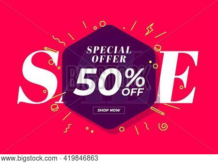 Sale Special Offer 50% Off Banner. Red Background Special Offer And Promotion Template Design.