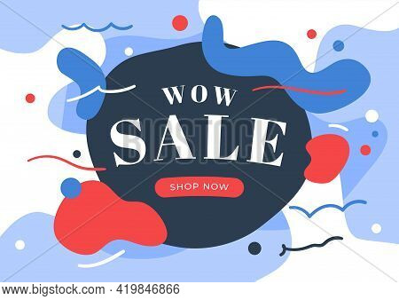 Wow Sale Banner Template Design. Sale On Abstract Background Vector Illustration.