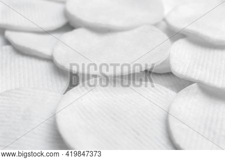 Cotton Discs As Abstract Background. Close Up