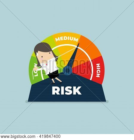 Businesswoman Manages Risk In Business Or Life. Risk On The Speedometer Is High, Medium, Low.