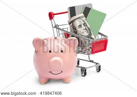 Piggybank And Shopping Cart With Money On White. Business Concept.