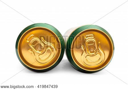 Two Closed Beer Can On White Background.