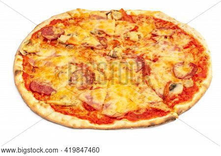 Round Pizza Isolated On A White Background.