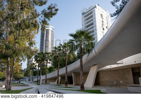 Nicosia,  Cyprus,  March 22 2021: The Modern And Futuristic Architecture Of Eleftheria Square In Nic