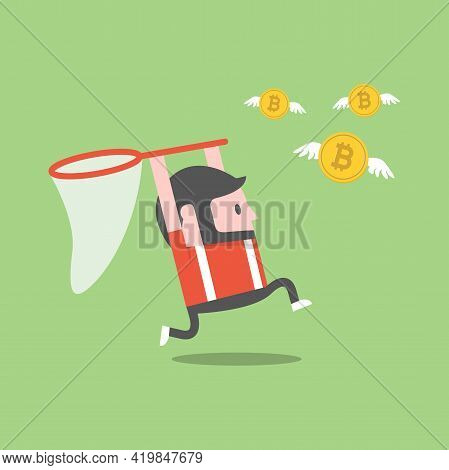 A Man Trying To Catch Bitcoin With A Butterfly Net. Digital Currency.