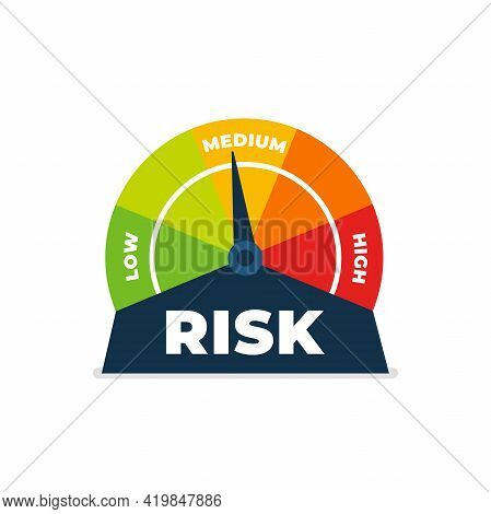 Risk Icon On Speedometer. Medium Risk Meter. Isolated On White Background.