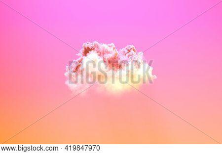 One Pink Sunset Huge Cumulus - Digital Nature 3d Rendering