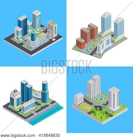 Modern City Isometric Compositions With Commercial Buildings And Residential Houses Road Infrastruct