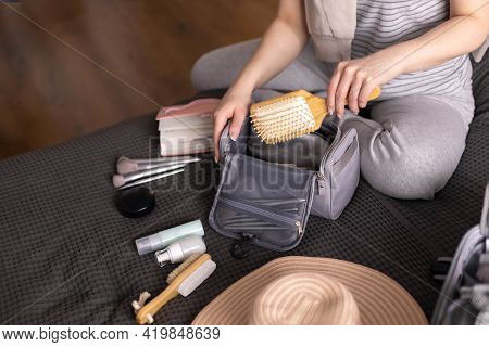 Smiling Woman Writing List Of Necessary Cosmetics Getting Ready Trip Vacation Storage Organization