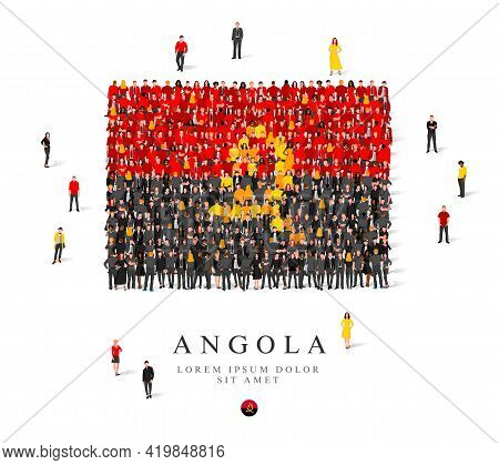 A Large Group Of People Are Standing In Black, Yellow And Red Robes, Symbolizing The Flag Of Angola.