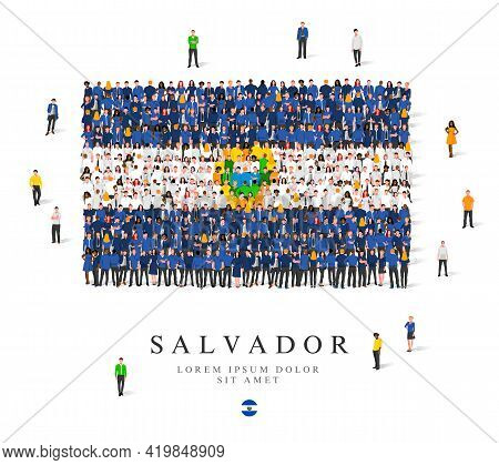 A Large Group Of People Are Standing In Green, White, Blue And Yellow Robes, Symbolizing The Flag Of
