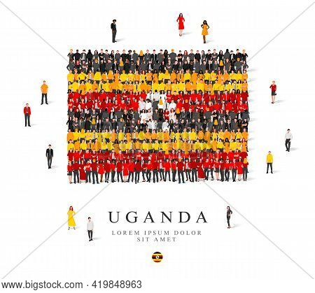 A Large Group Of People Are Standing In Yellow, Black, White And Red Robes, Symbolizing The Flag Of