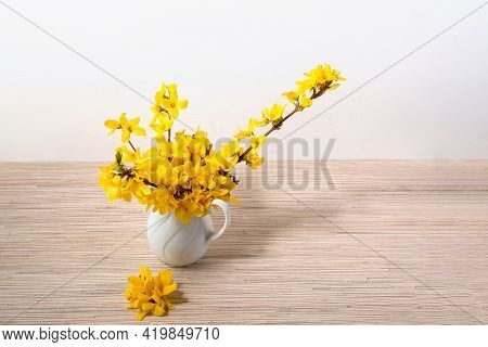 Yellow Flower Bouquet In Vase On Table With Copy Space