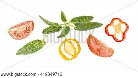 Horizontal Fresh Vegetables Banner On White Background