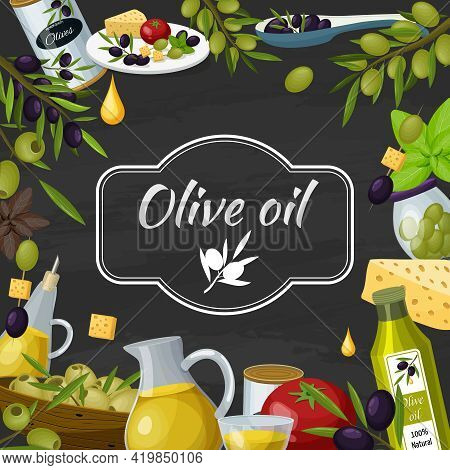 Olive Cartoon Blackboard Composition Poster  With  Chalkboard Text Oil Keiraaf Twigs Tomato Cheese M