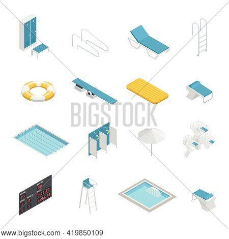 Swimming Pool Elements Isometric Icons Set With Change Room Locker Closet Shower Life Ring Isometric