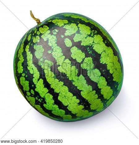 Watermelon Isolated On White Background. Whole  Watermelon With A Shade,  Close-up