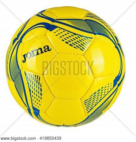 Ukraine, Kyiv - August 26. 2020: Soccer Ball Of The National Team Of Ukraine Trademark Joma Isolated