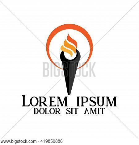 Torch Vector Icon Illustration Design Template. Torch Logo Business