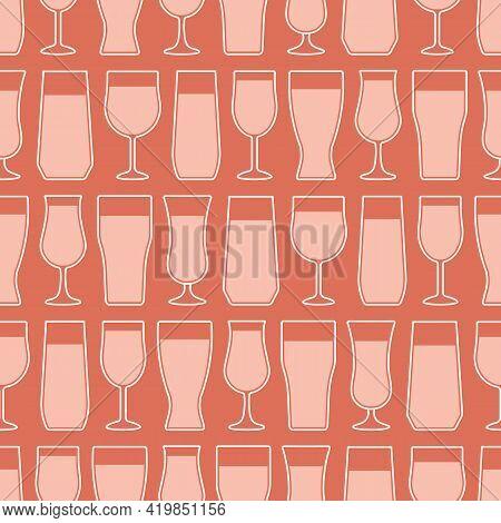 Beverage Glasses On Terracotta Color Background. Vector Lineart Of Different Beverage Glasses Arrang