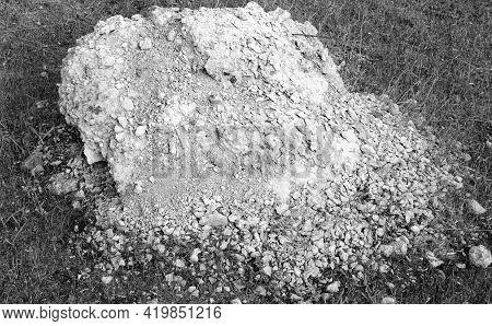 Chalk Quarry. Large White Stones. Deposits Of Cretaceous Rocks. Production Of Chalk. Open Pit Chalk