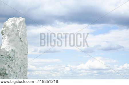 Chalk Rock Against The Blue Cloudy Sky. Industrial Extraction Of Chalk. Place For Your Text. White R