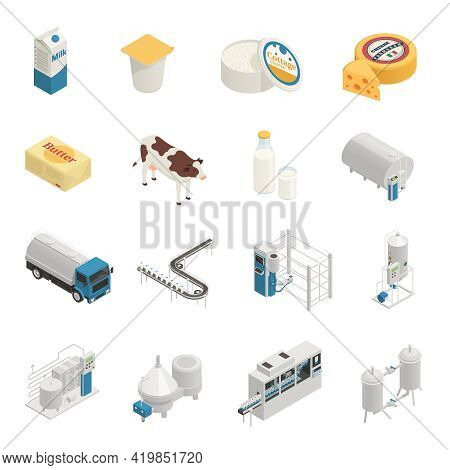 Dairy Production Milk Factory Isometric Icons Collection With Isolated Images Of Ready Products And