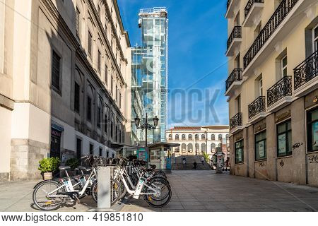 Madrid, Spain - May, 8 2021: Rental Bicycles At Reina Sofia Museum In Central Madrid. It Is One Of T