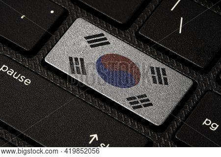 South Korea  Flag Print Screen On Laptop Computer Keyboard , South Korea Country Is High Economic Gr