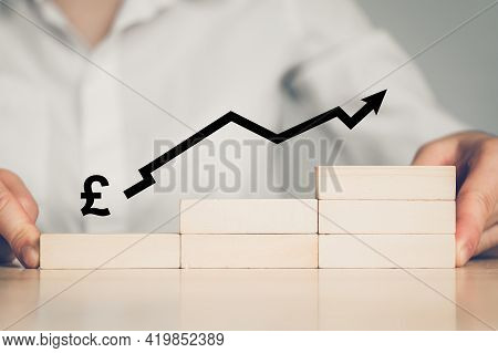 Concept Of Growth Of Pound Sterling Currency With An Upward Arrow And Businessmen Building A Ladder.