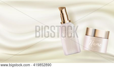 3D Realistic Natural Beauty Cosmetic Product For Face Or Body Care On Glossy Bokeh Background. Desig