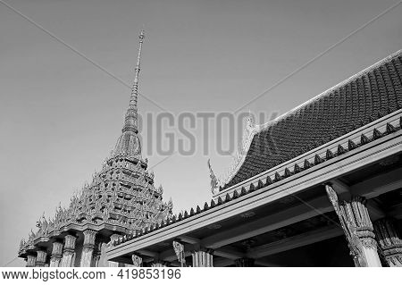 Beautiful Ornate Roof And Spire Of Wat Khao Di Salak Buddhist Temple, Historic Place In In Suphanbur
