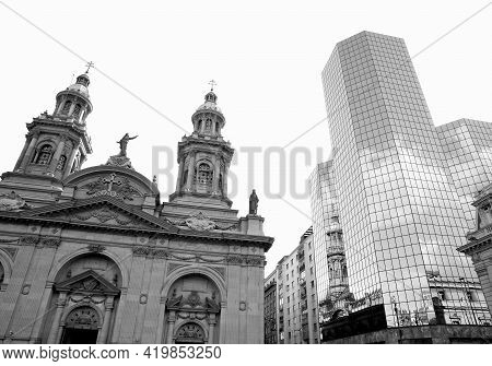 Metropolitan Cathedral Of Santiago With An Amazing Glass Cladding Building On Plaza De Armas Square