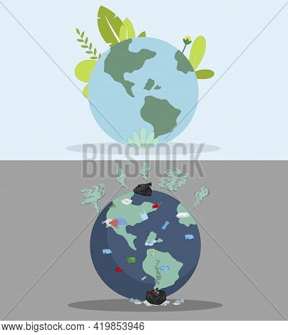 Polluted And Clean Planet, Vector Pollution On Earth Compare With Globe Eco Planet, Ecology Save, Wo