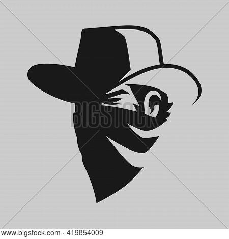 Cowboy Masked Outlaw Portrait Symbol On Gray Backdrop. Design Element