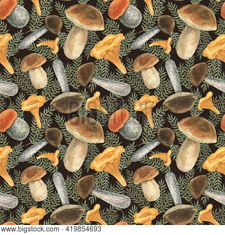 Seamless Pattern With Edible Mushrooms. Watercolor Illustration. The Print Is Used For Wall Paper De