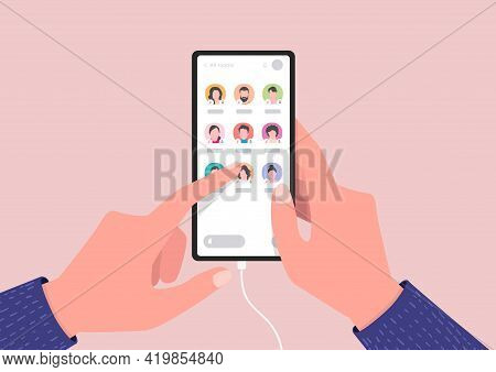 Smartphone Screen With Audio Chat Conversation. Hand Holding Mobile Phone With Audio Chat Social Net