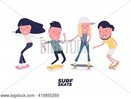 The Skateboarders Set. Young Boy And Girl Surf On Skateboard Or Surf Skate. People On Skates. Funny