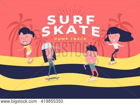 Young Boy And Girl Surf On Skateboard Or Surf Skate. People On Skates On Pump Track Background. Funn