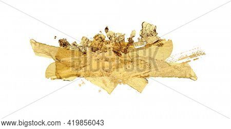 Gold glitter and bronze color blot. Abstract torn piece of metal leaf (potal) paper on white background.