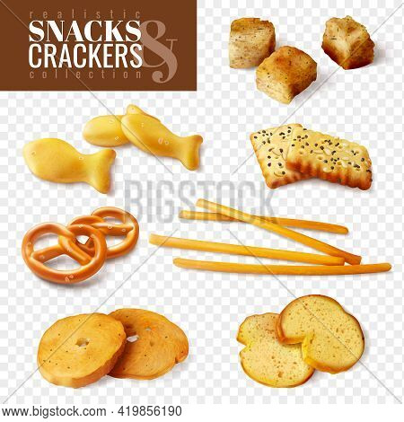 Crackers And Snacks Of Different Shapes On Transparent Background Isolated Icons Set Realistic Vecto