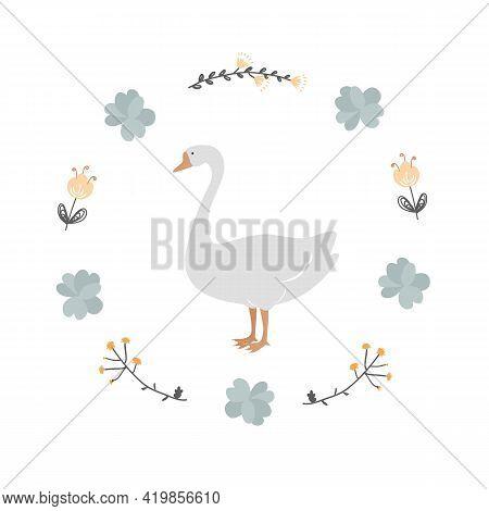 Vintage Floral Wreath Frame With White Goose, Vector Cartoon Illustration