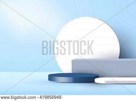 3d Studio Room Display Geometric Dark Blue Cylinder Pedestal, Box, White Circle Backdrop Minimal Blu