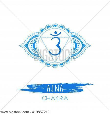 Vector Illustration With Symbol Ajna - Third Eye Chakra And Watercolor Element On White Background.
