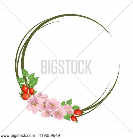 Rosehip Wreath. Round Frame, Cute Pink Flowers Rose Red Fruits And Leaves. Festive Decorations For W