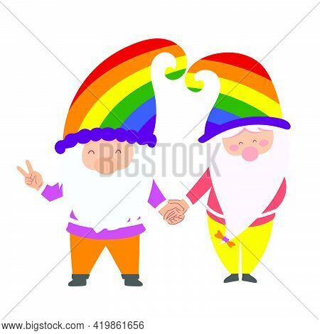 Lgbt Gnomes, Couple In Love.