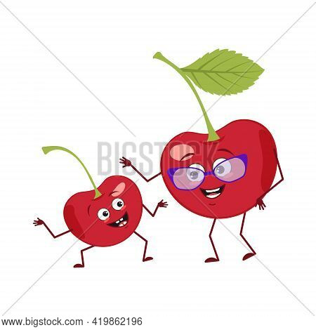Cute Cherry Characters With Emotions, Face. Funny Grandmother With Glasses And Dancing Grandson With